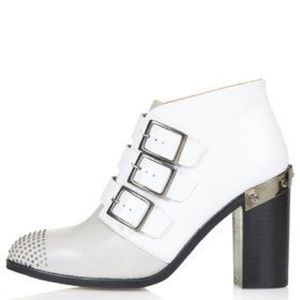Topshop leather studded buckle heel ankle boot